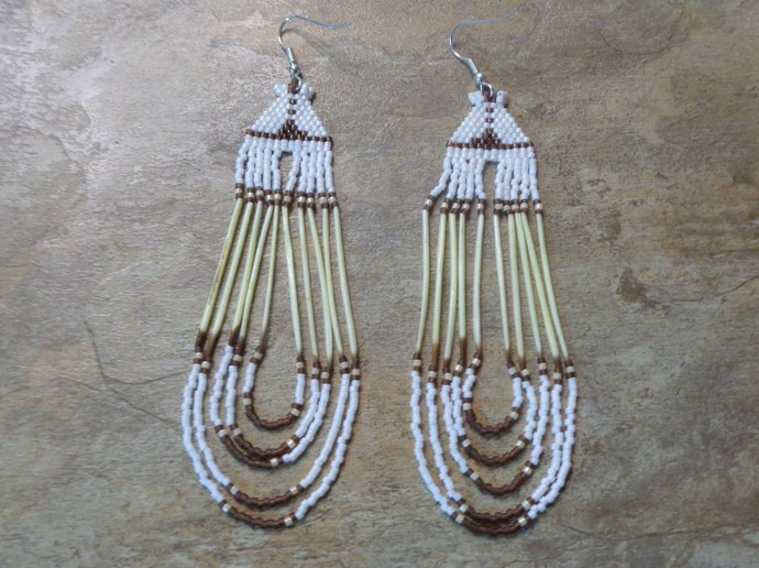 Tipi Style Earrings With Quills Hand Made Seed Beaded Bead Work