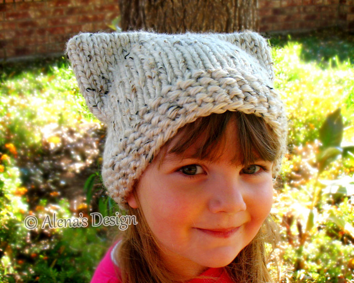 Free Knitting Pattern 213 Cat Hat Knitting Patterns Cat Ears Toddler Child Teen