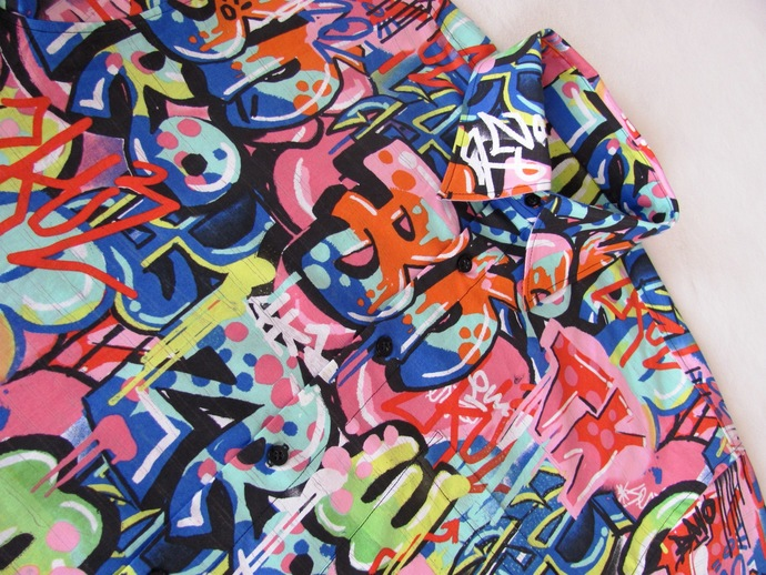 Graffiti Shirt Short Sleeve. All Cotton Print. Quality Hand Crafted. Button up.