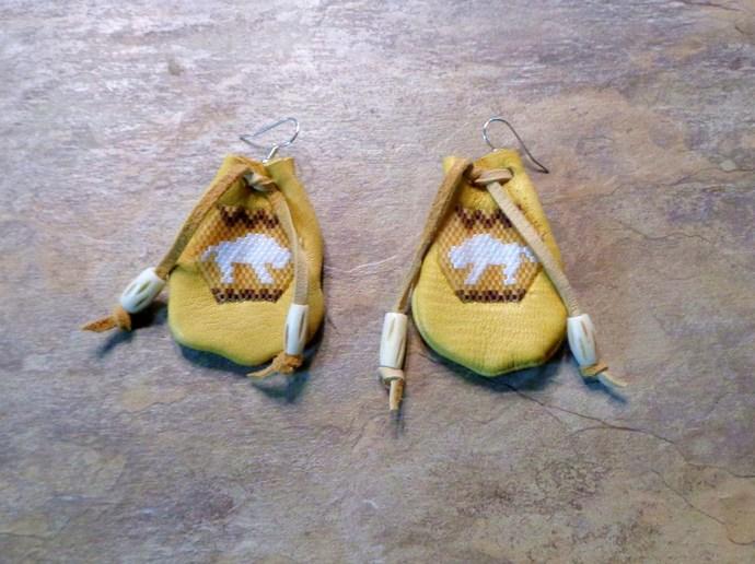 Medicine Bag White Buffalo Calf Earrings Hand Made Seed Beaded Bead Work