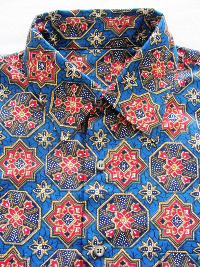 Men's Shirt Long Sleeve. Red Mandala on Blue All Cotton Print. Quality Hand
