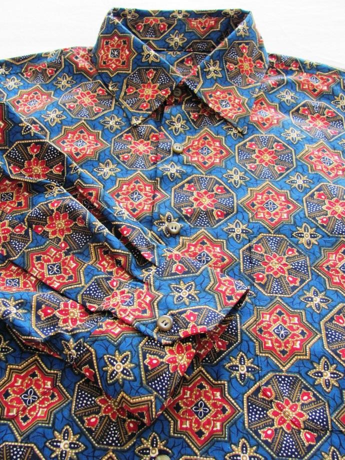 Men's Shirt Long Sleeve. Red Mandala on Blue All Cotton Print. Quality Hand