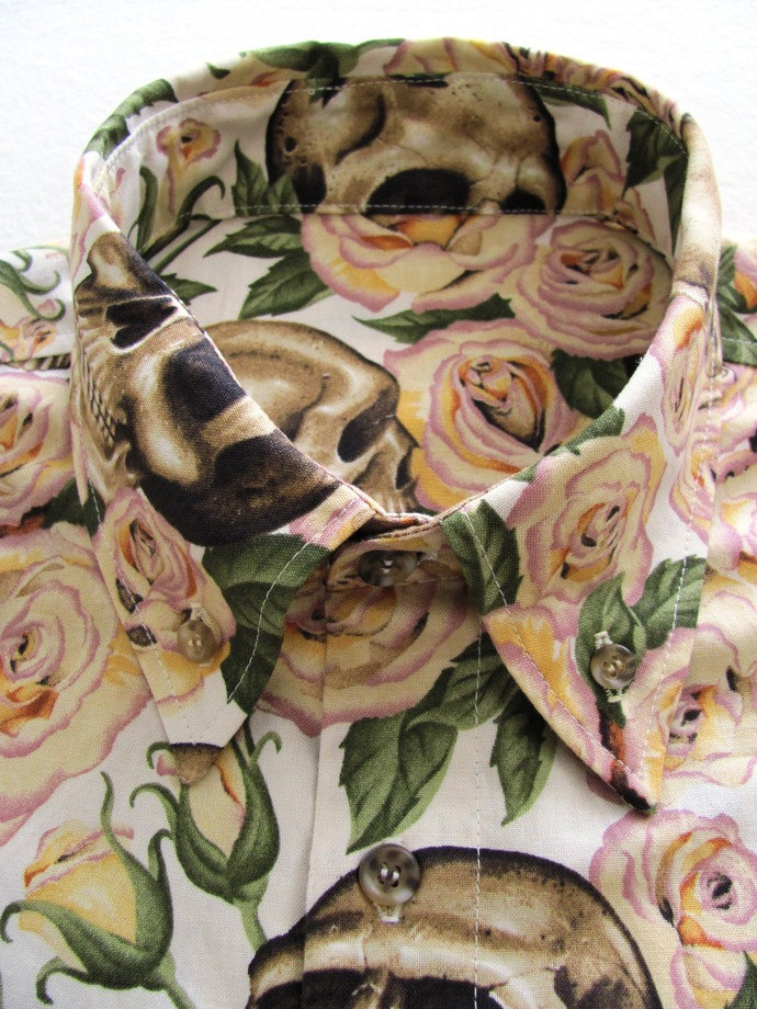 Skulls and Roses Men's Shirt Long Sleeve. All Cotton Print. Quality Hand