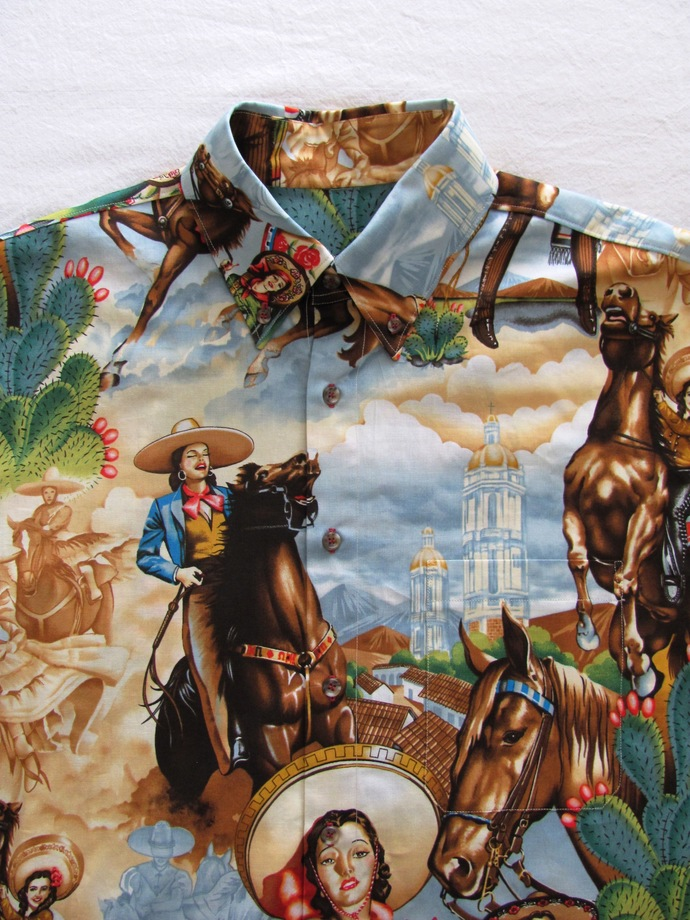 Vaquera Cowgirl Men's Shirt Long Sleeve.  All Cotton Print. Quality Hand