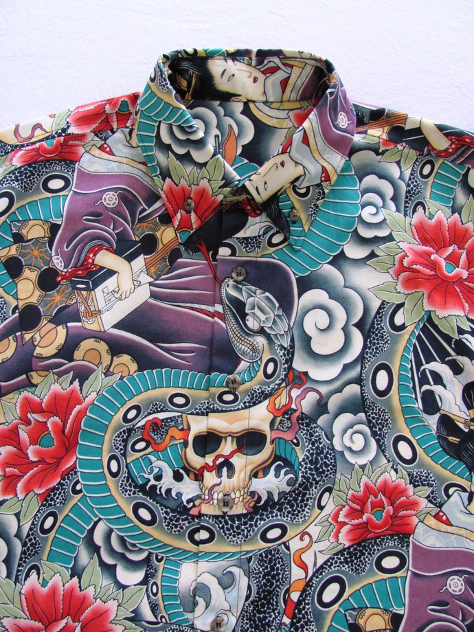 Skulls and Snakes Tattoo Print. Men's Shirt Long Sleeve.  All Cotton Print.