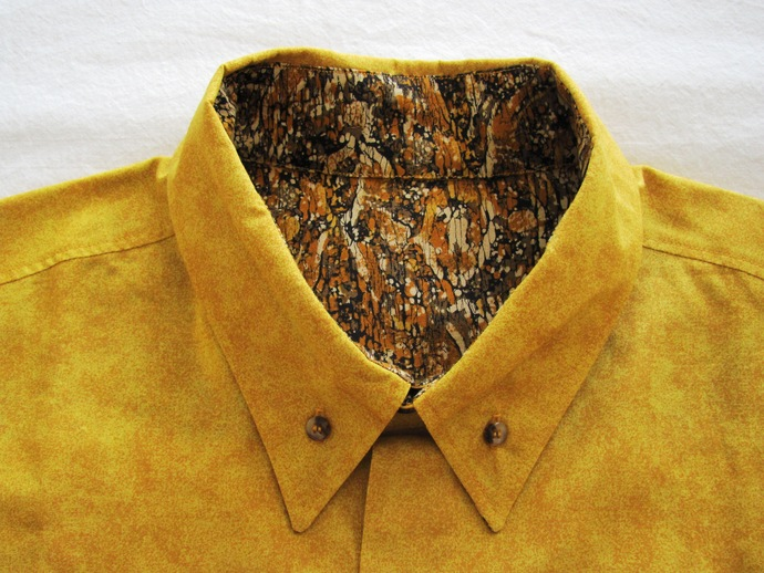 Men's Shirt Long Sleeve. Mustard Yellow & Batik Bark All Cotton Print. Quality