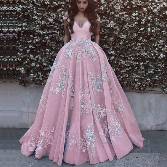 6768f515e32 Ball Gown Off the Shoulder Pink Prom Dress 2019 by PrettyLady on