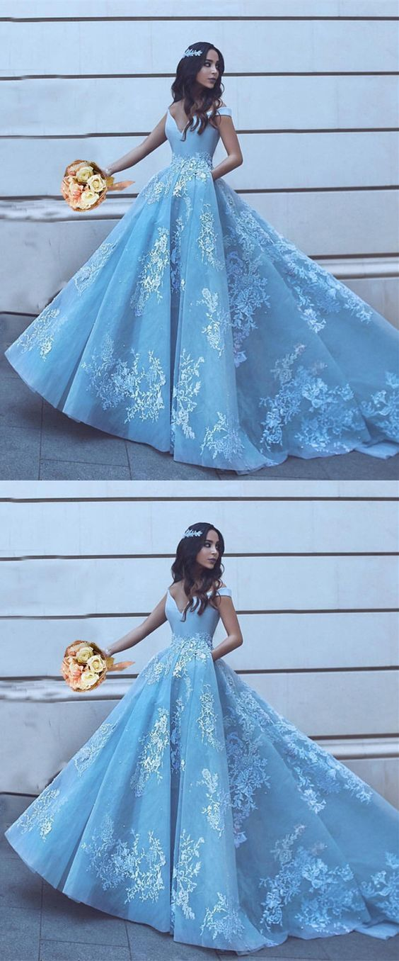 Light Blue Tulle Ball Gowns Prom Dresses Lace Appliques Off Shoulder