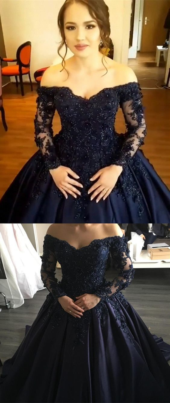 6118ee67d3 Navy Blue Lace Appliques Long Sleeves Ball Gowns Wedding Dresses Off  Shoulder