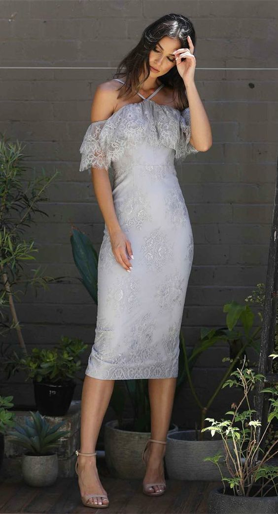 Sheath Off-the-Shoulder Grey Lace Prom Party Bridesmaid Dress with Ruffles
