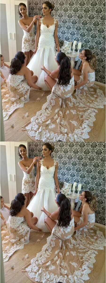 Sexy Lace Mermaid Bridesmaid Dress,  High Low Champagne Bridesmaid Dresses