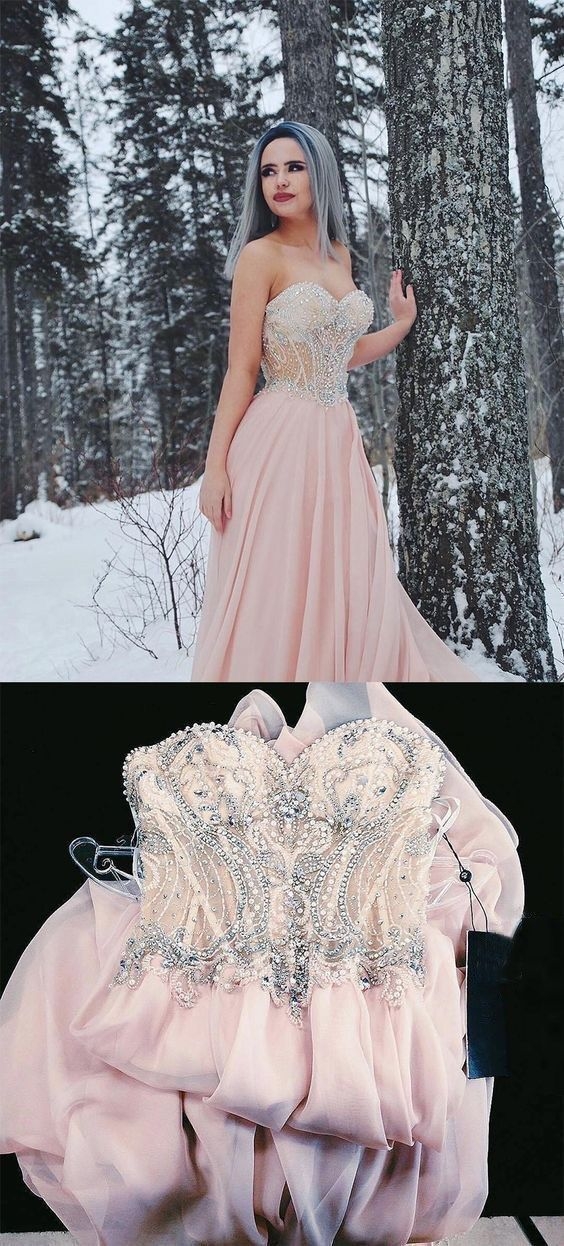 Sexy Sweetheart Pink Chiffon Prom Dress with Beaded, Long Evening Party Dress