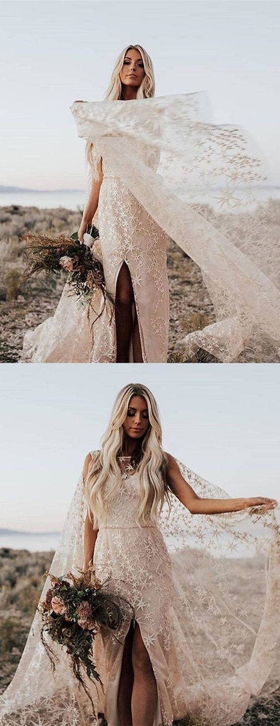 Sheath Bateau Backless Watteau Train Lace Wedding Dress with Split