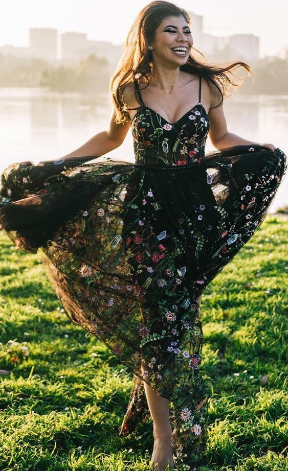black floral long prom dress embroidery, 2019 prom dress
