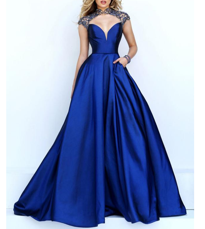 Unique Tulle & Satin High Collar A-Line Prom Dresses With Beads & Rhinestones