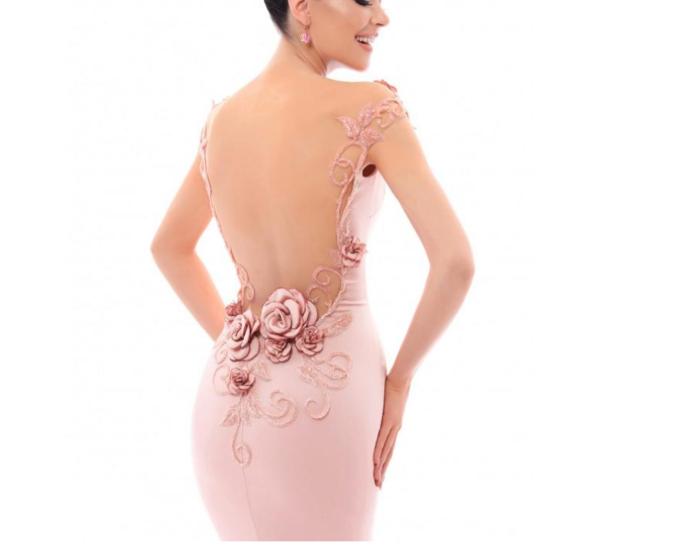 Showy Acetate Satin Bateau Neckline Cap Sleeves Sheath / Column Prom Dress With