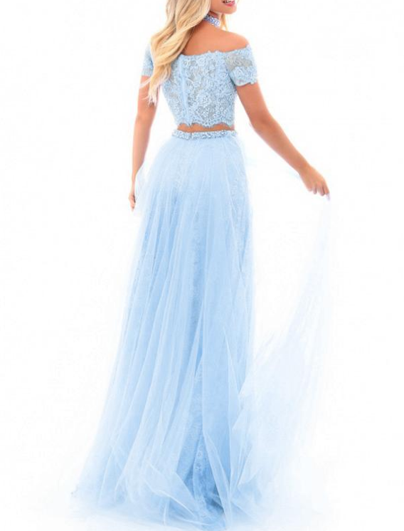 Fantastic Lace & Tulle Two-piece A-line Prom Dress With Lace Appliques &