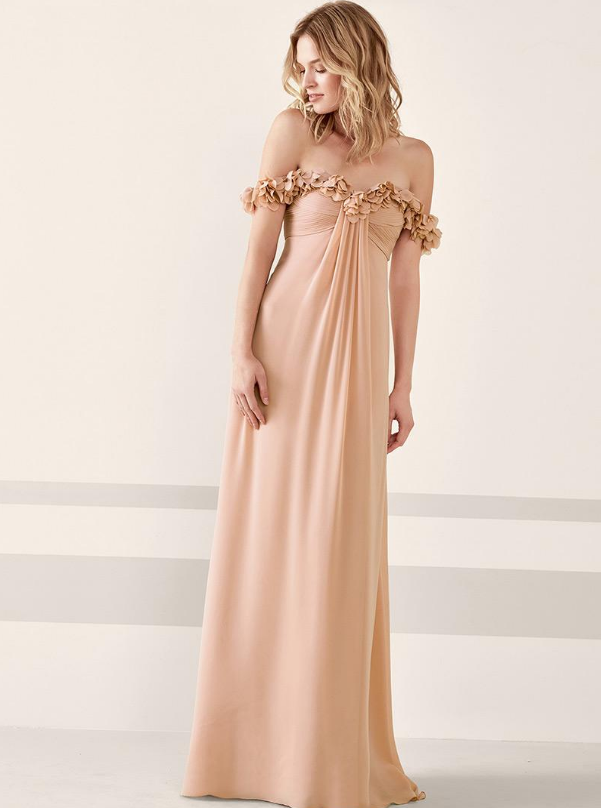 A-line Prom Dress With Handmade Flowers Special Chiffon Dresses Off-the-shoulder