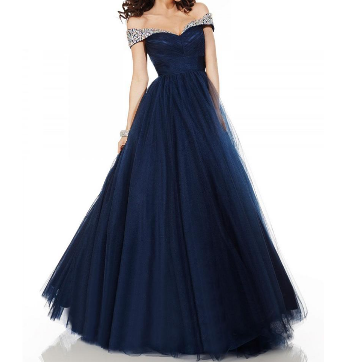 Neckline Floor-length A-line Prom Dresses Charming Tulle Off-the-shoulder