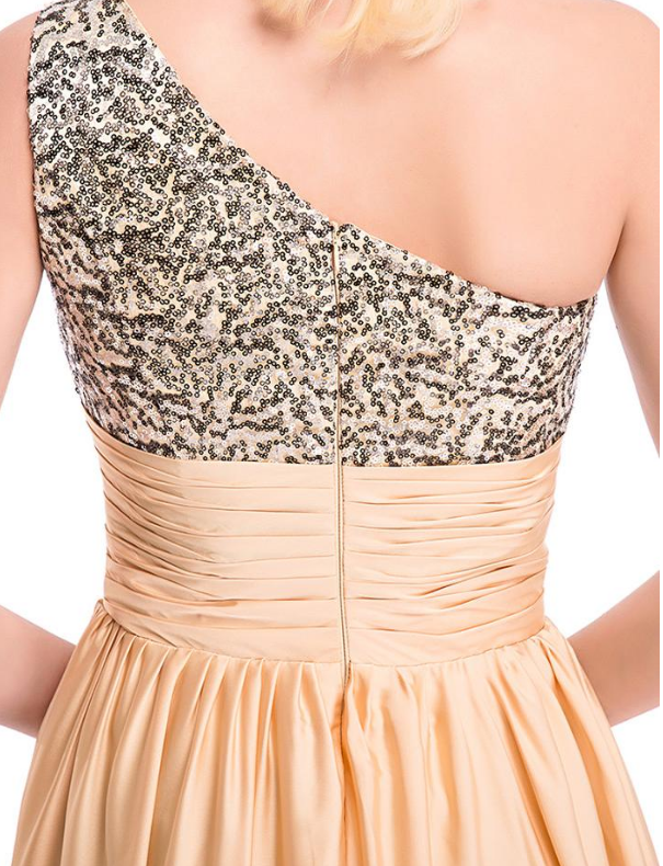 One-Shoulder Prom Dresses Bling Sequin Lace & Satin Chiffon Bling Sequin Lace &