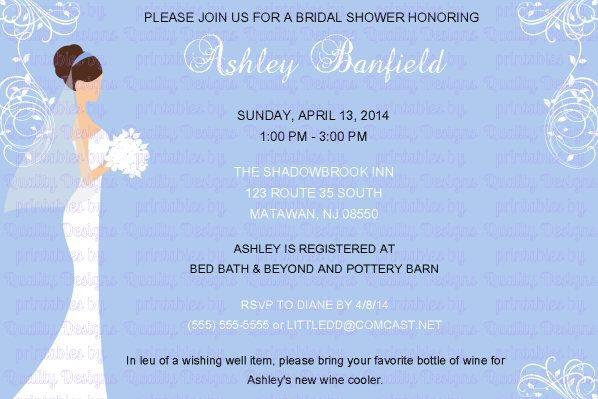 Bridal Shower Printable Invitation, Bride, Flourish, DIY