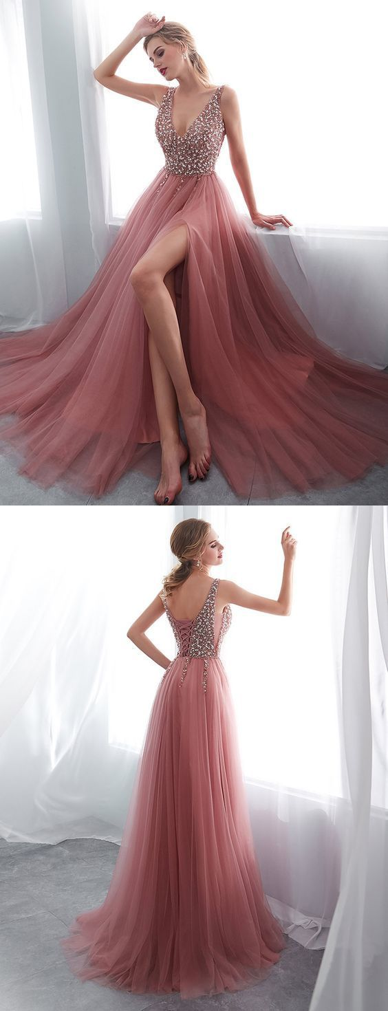 Stunning A Line V Neck Sleeveless Split Pink Long Prom Evening Dress with