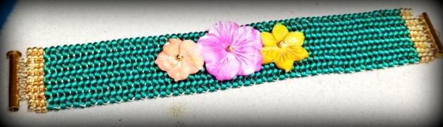 Floral Teal Cuff Bracelet
