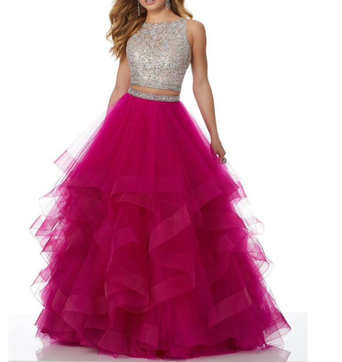 Absorbing Tulle Jewel Neckline Two-piece Cut-out A-line Evening Dress With