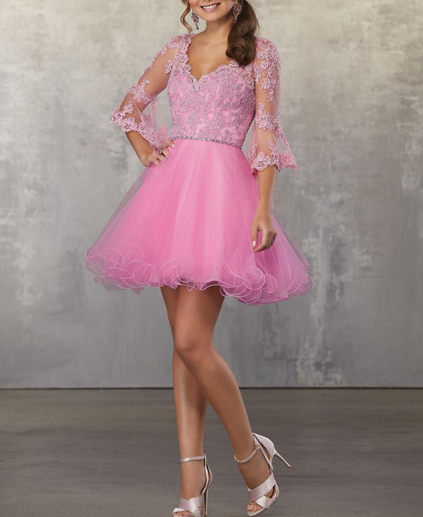 Unique Tulle V-neck Neckline 3/4 Length Sleeves Cut-out A-line Homecoming Dress