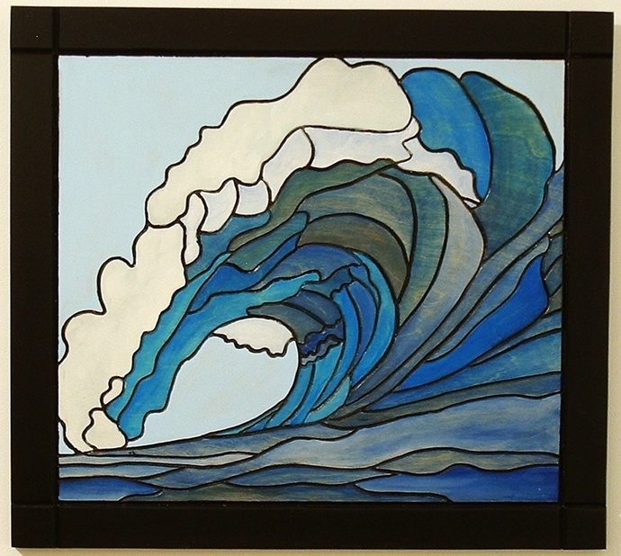 Nautical Home Decor, Ocean Wave. Intarsia Wall Art, Wood Sculpture