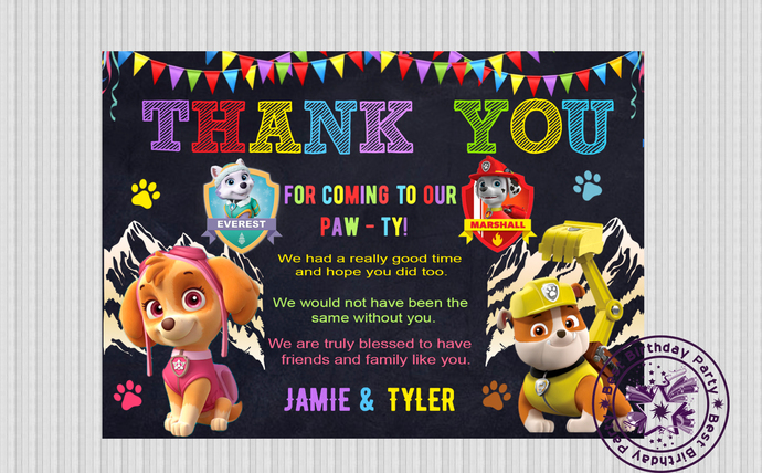 Paw patrol birthday thank you cards, Sky & Rubble Paw Patrol Thank You Card,