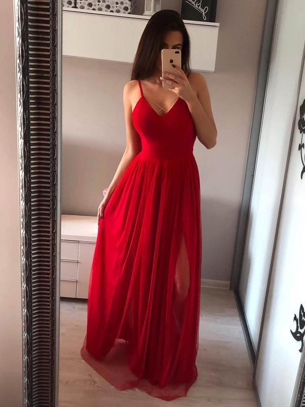 a347daa0062 2018 Hot Red See Through Long Prom Dresses Silver Simple Chiffon Prom Dress  with