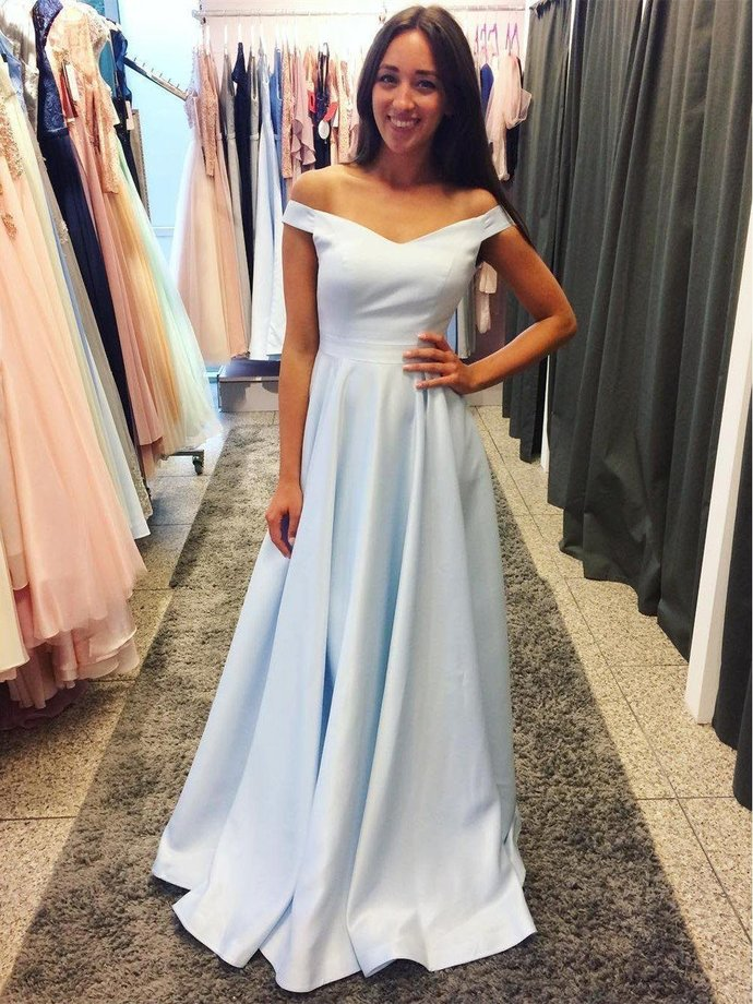 Off the Shoulder Satin Prom Dresses Light Sky Blue Cheap Long Formal Dresses