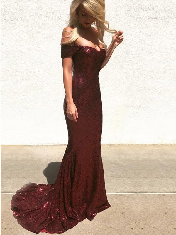 Off the Shoulder Burgundy Mermaid Prom Dresses Shiny Maroon Formal Dress G3460