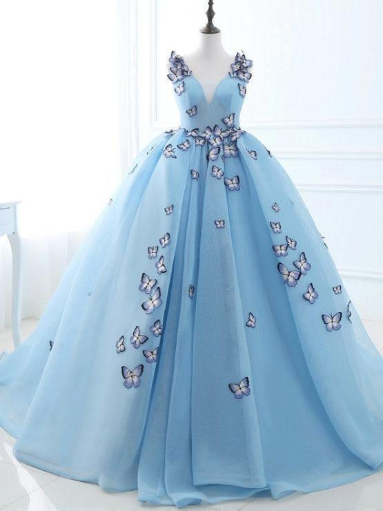 Long Sky Blue Prom Dresses Butterfly Applique Quinceanera Dresses K2780