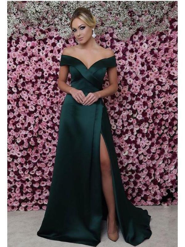 Off the Shoulder Mermaid Prom Dresses Sexy Thigh Split Green Formal Dresses
