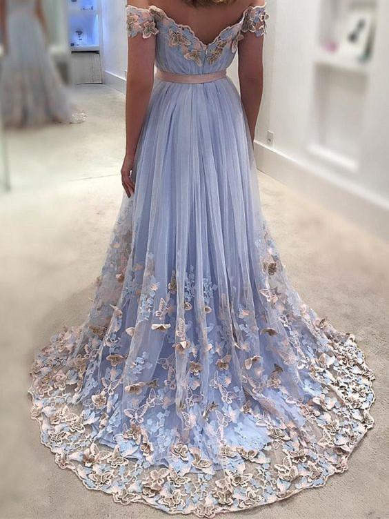 Light Blue Prom Dresses Lace Appliqued Off the Shoulder Long Prom Dress H5400