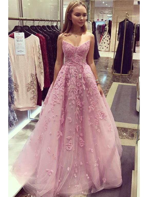 Dusty Rose Vintage Prom Dresses Lace Applique Strapless Long Prom Dresses T5470