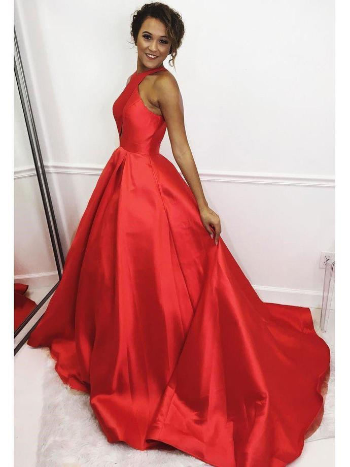 Red Simple Prom Evening Dress Plus Size Long A Line Satin Graduation  Dresses G4368