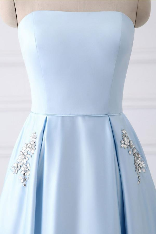Light Blue A Line Floor Length Strapless Sleeveless Lace Up Prom Dress,Party
