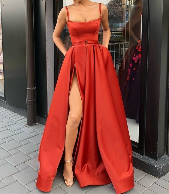 Spaghetti Straps Red Pageant Dress Prom Dress with Slit G4580