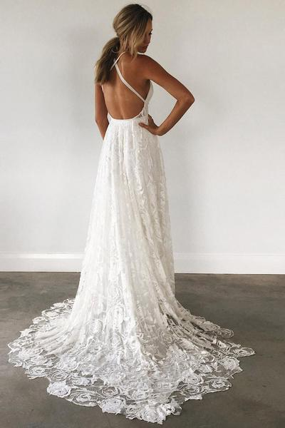 A Line Court Train Halter Sleeveless Backless Side Slit Cheap Wedding Gown,Beach