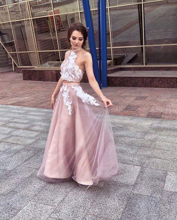 2018 Hot 2 Pieces Halter Long Prom Dresses Applique Evening Dresses A-Line