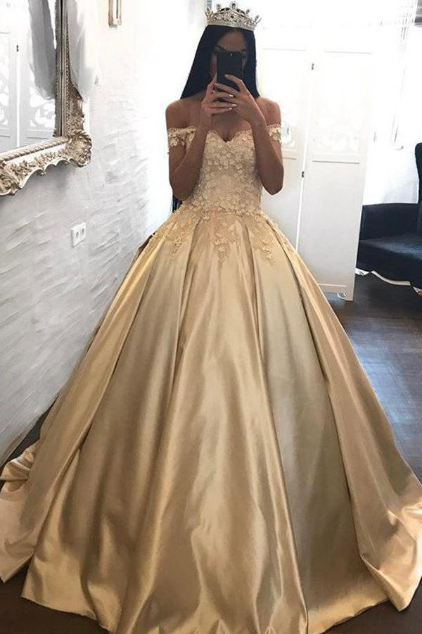 Golden Ball Gown Sweep Train Off Shoulder Appliques Long Prom Dress,Party Dress
