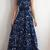 Blue A Line Brush Train Sleeveless Deep V Neck Prom Dress,Party Dress R3456