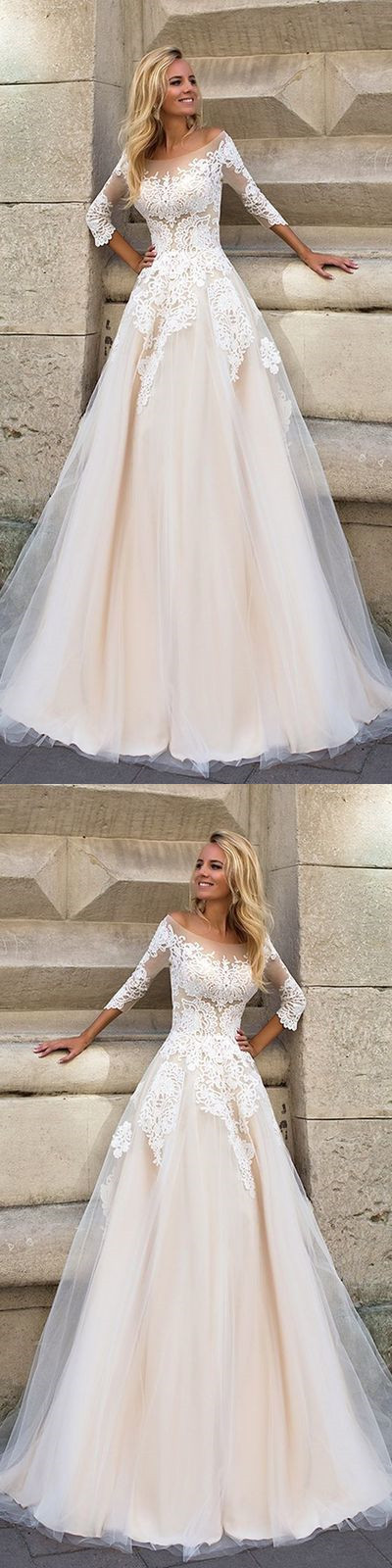 Half Sleeve Tulle Appliques Wedding Dress, Elegant Wedding Gown, Formal Bridal