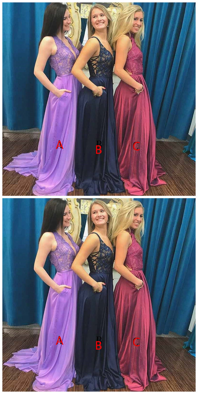 f8061d78c438 A-Line Deep V-Neck Sweep Train Lavender Prom by prom dresses on Zibbet