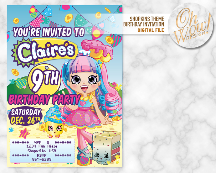 Shopkins Shoppie Rainbow Kate Birthday Party Invitation: Digital File