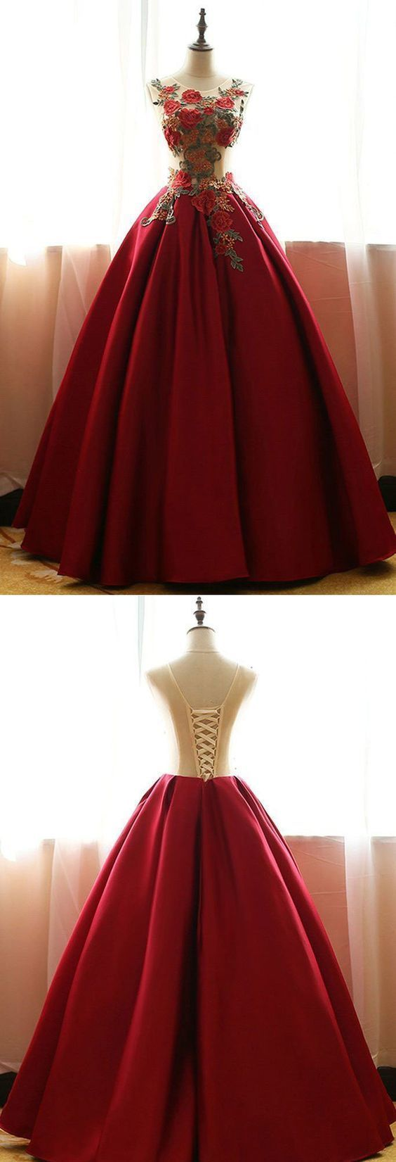 Copy of Long Red A-line V-Neck Sleeveless Beading Prom Dresses