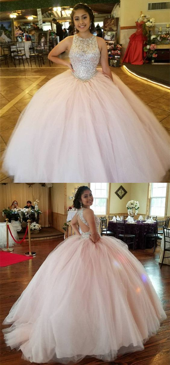 Stunning Sequins Beaded Keyhole Back Tulle Ball Gowns Quinceanera Dress